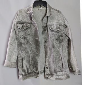 Vintage Gray Acid Washed Denim Jacket Sz L XL